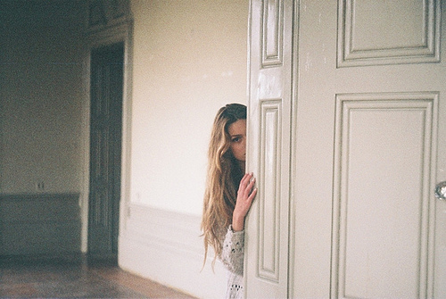 beauty, door, girl, hair, sweet
