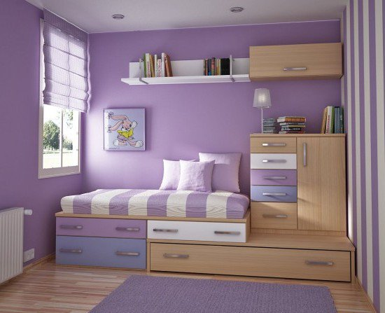 bed, bedroom, furniture, purple