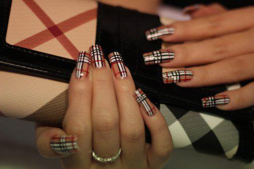 beige, black, burberry, hands, long, nail art, nails, pretty, red, white