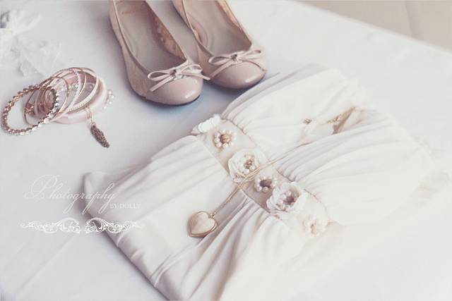 beige, bow, dress, fashion, flat shoes