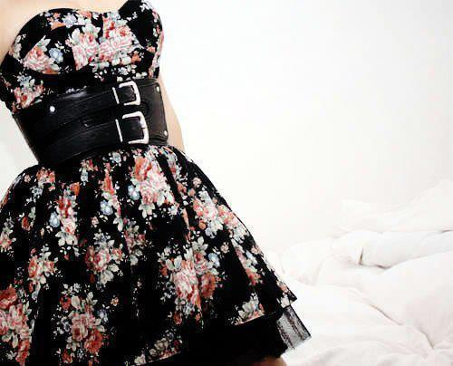 belt, black, dress, flowers