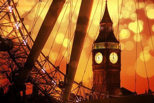 big ben, clock, orange