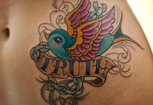 bird, girl, tattoo, truth