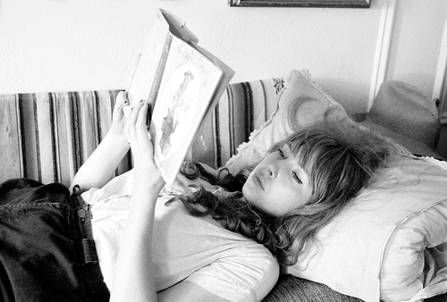 black and white, blonde, book, cute, girl, reading