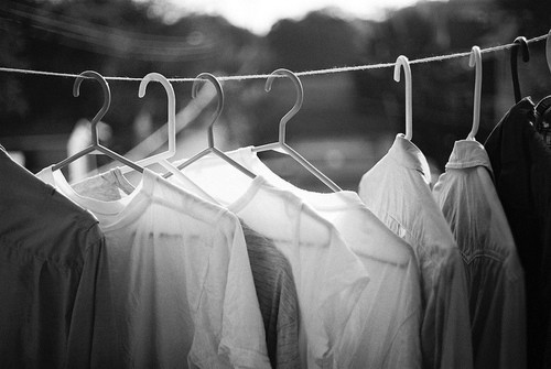 black and white, clothes, laundry