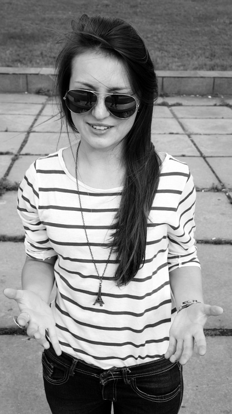black and white, cute, girl, sunglasses