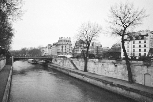 black and white, dark, houses, paris, river, tree, vintage, water