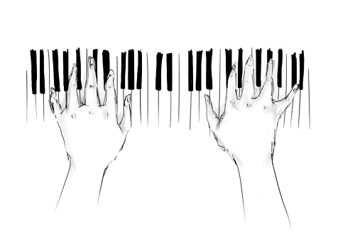 black and white, drawing, music, piano