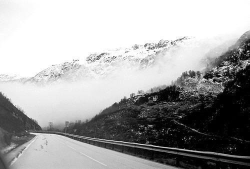 black and white, mountains, road, snow, winter