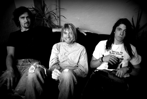 black, black and white, dave grohl, grunge, krist novoselic, kurt cobain, men, nirvana, vintage, white