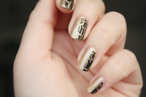 black, craquelado, gold, nail, nail art
