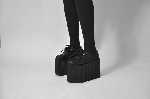 black, creepers, fashion, legs, platform