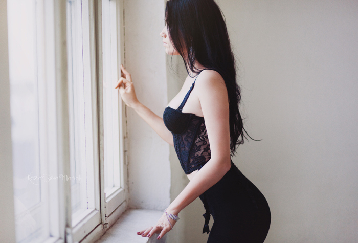 black dress, girl, window