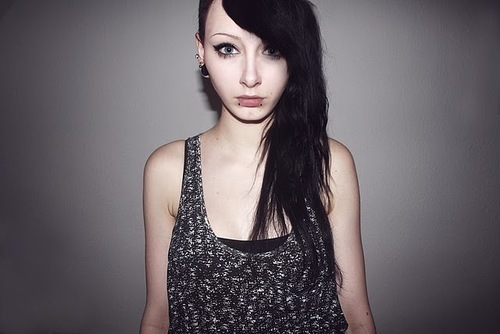 black, eyeliner, girl, hair, indie, piercing