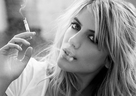 black, girl, melanie laurent, photography, smoke, smoking, white