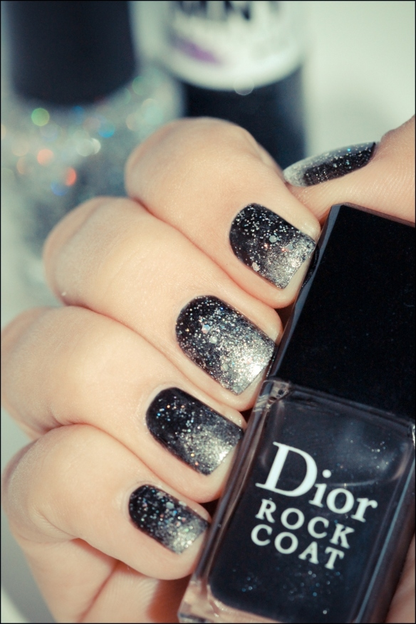 black, glitter, gradient, nail art, nailart