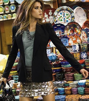 blazer, fashion, neckless, paete, skirt