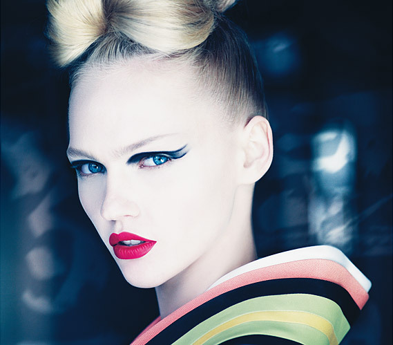 blond, blue eyes, demarchelier, dior, eyes, face, fashion, hair, japan, kimono, lips, make up, model, patrick demarchelier, vogue