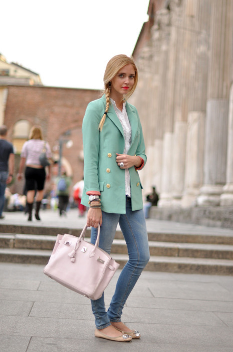 blonde, braid, coat, fashion, flats, girl, green, lipstick, purse, stick, watch