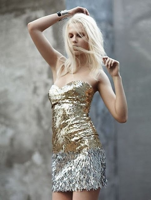 blonde, dress, fashion, girl, gold, model, silver