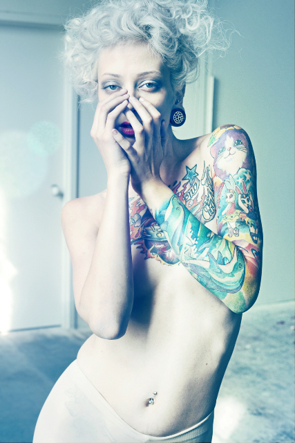 blonde, gauges, ink, plugs, tattoo