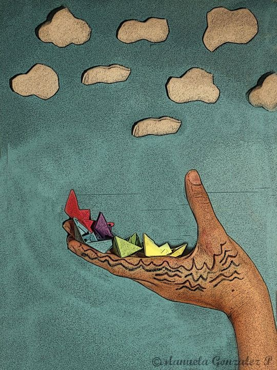 blue, blue sky, clouds, colors, creativity, fun, green, hands, paper, paper boats, purple, red, yellow