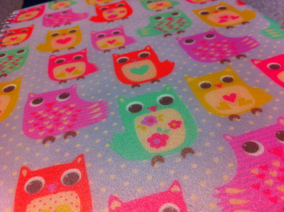 blue, book, cute, owl, pink, red, scool, yellow