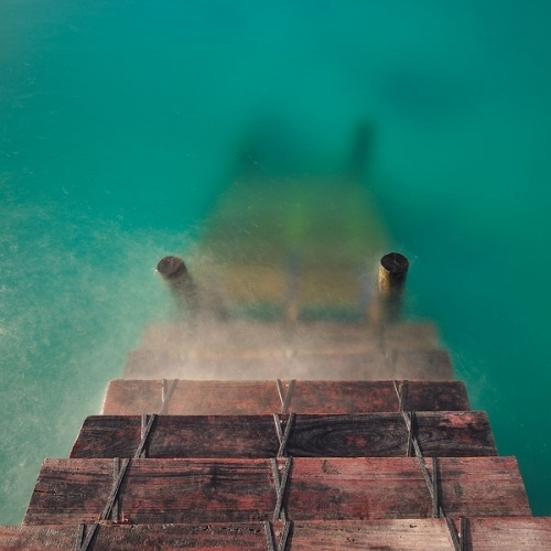 blue, clue, cyrstal, ocean, stairs, water, wood