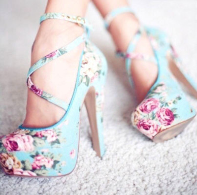 blue, cute, flower, flowers, heels