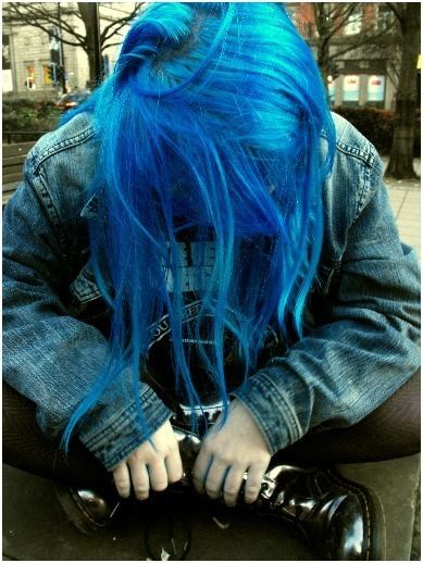 blue, hair, punk