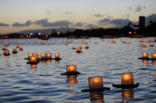 blur, candles, floating, sun set, tranquil, water, waves