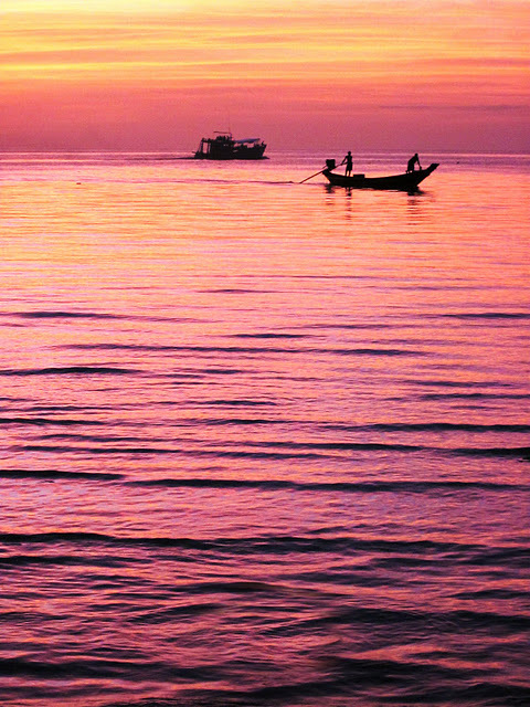 boat, ocean, sunset, thailand, travel