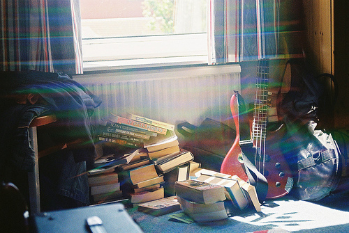 book, books, guitar, light, room
