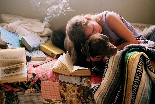 books, dog, girl, hair