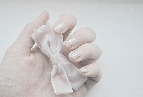bow, glitter, hand, nail polish, nails, ribbon