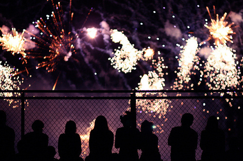 boy, city, fireworks, girl, light, night, people