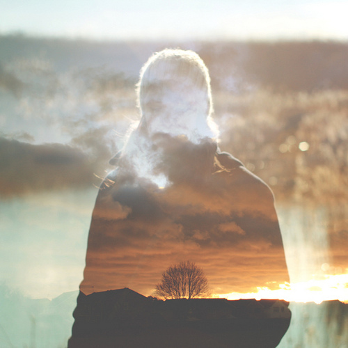 boy, double exposure, sunset