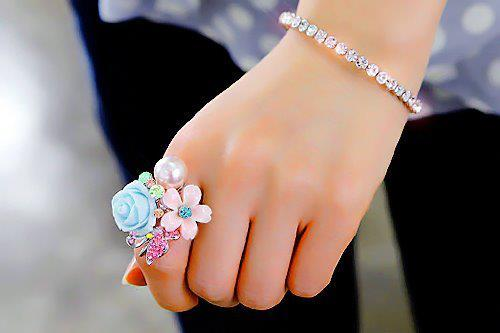 bracelet, cute, delicate, flowers, hand, ring, romantic, strass