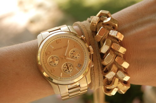 bracelet, diy, gold, kors, watch