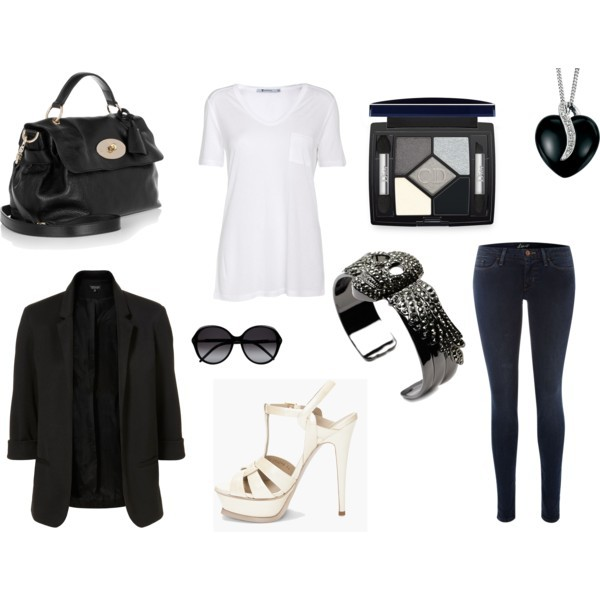 bracelet, high heels, jacket, jeans, necklace, polyvore, shirt, sunglasses