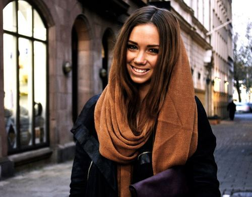 brunette, girl, outfit, scarf, smile, street