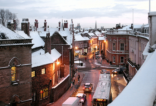 bus, christmas, city, cute, england, hipster, lovely, skiing, sky, snow, village, winter