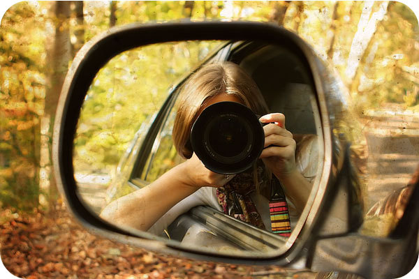 camera, car, girl, mirror, outside