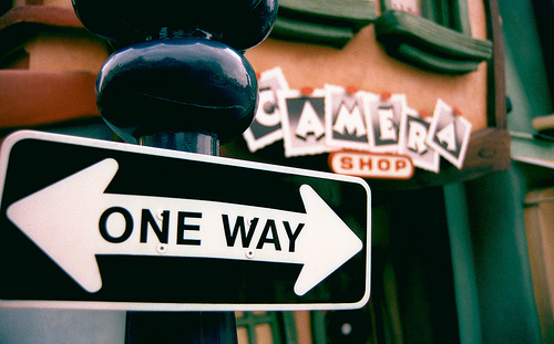 camera, cool, disneyland, film, one way, photography, road, shop, street