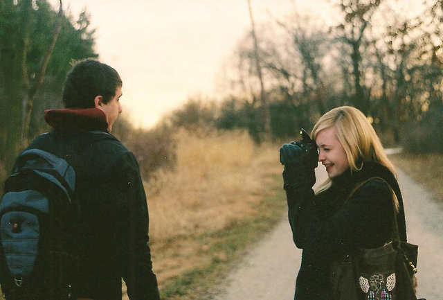 camera, couple, love and vintage