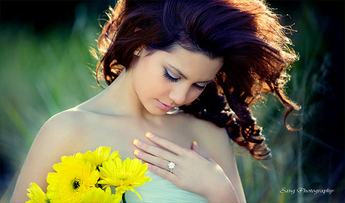 camera, flower, gelb, girl, nature