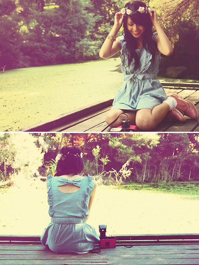 camera, girl, lovely, nature, pastel