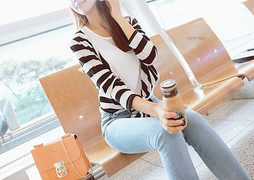 cardigan, coffee, denim, fashion, frappuchino, girl, jeans, pretty, pursue, starbucks, stripes