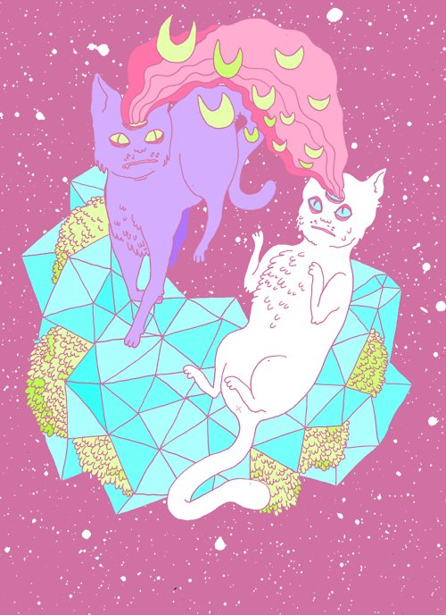 cartoon, cats, cool, draw, galaxy, lsd, moon