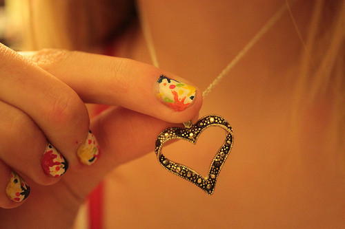 chain, colors, heart, love, nails